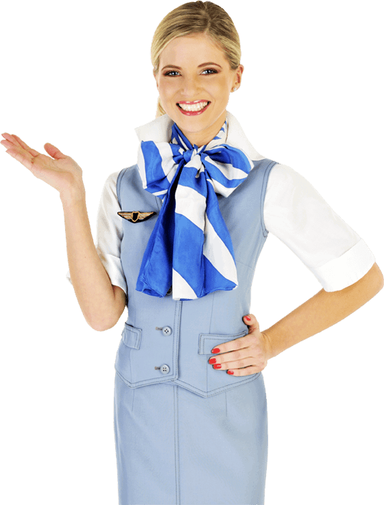 A travel stewardess holding her hand out with symbols representing famous travel locations
